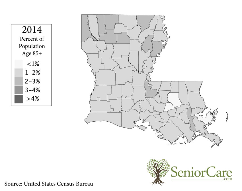 Louisiana 85+ Population by County