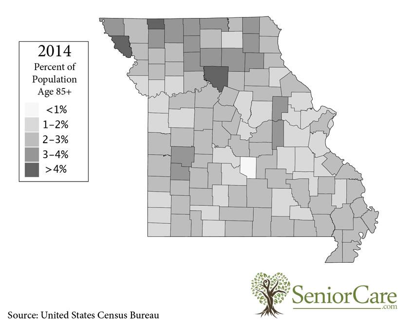 Missouri 85+ Population by County