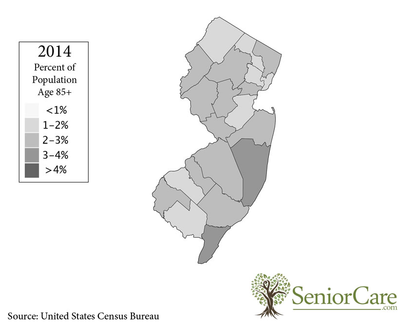 New Jersey 85+ Population by County