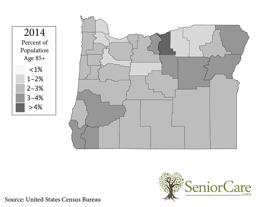 Oregon 85+ Population by County