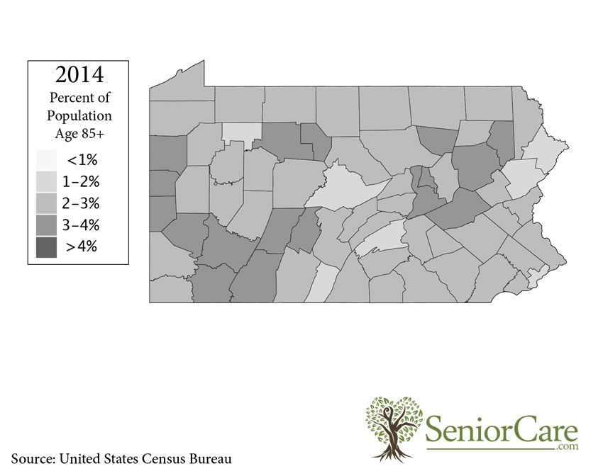 Pennsylvania 85+ Population by County