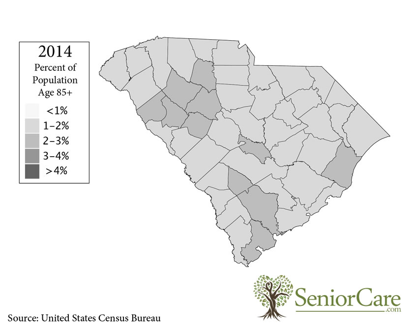 South Carolina 85+ Population by County
