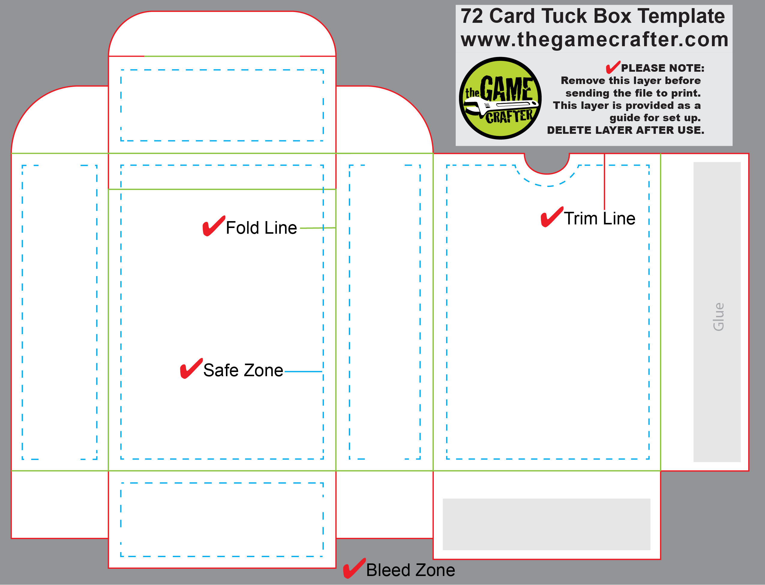 card box template generator - poker tuck box 72 cards