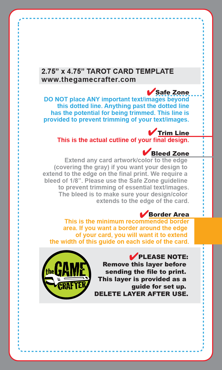 game card template