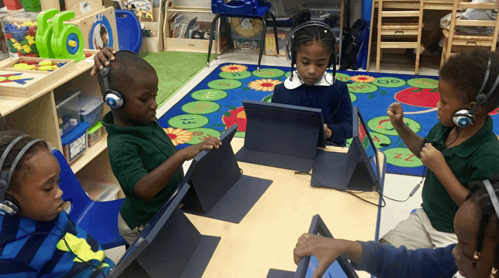 children using waterford on ipads