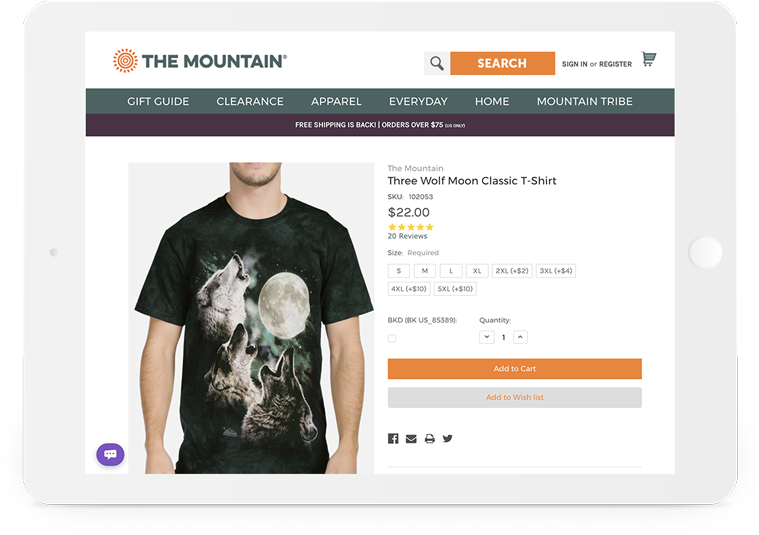 Bigcommerce The Mountain Product