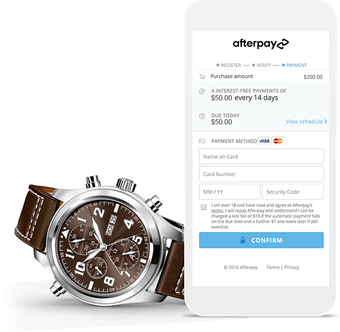 Collage Device Checkout Payment Product Watch Afterpay Visa Mastercard