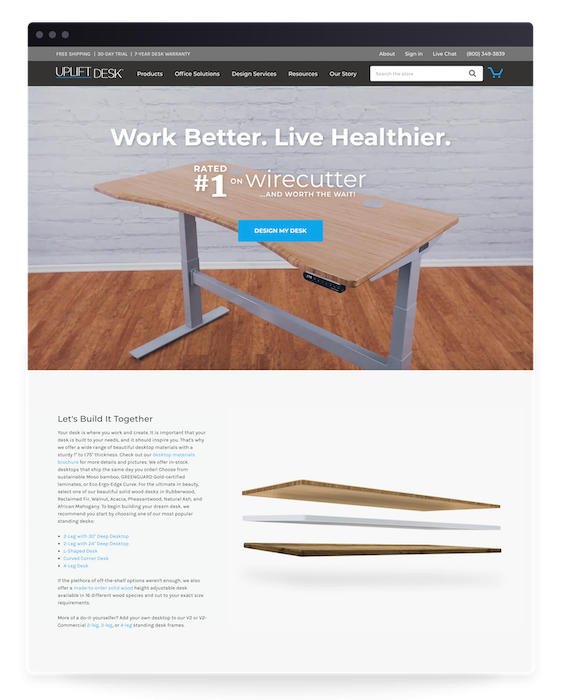 Storefront Browser Homepage Desk Build Uplift Desk