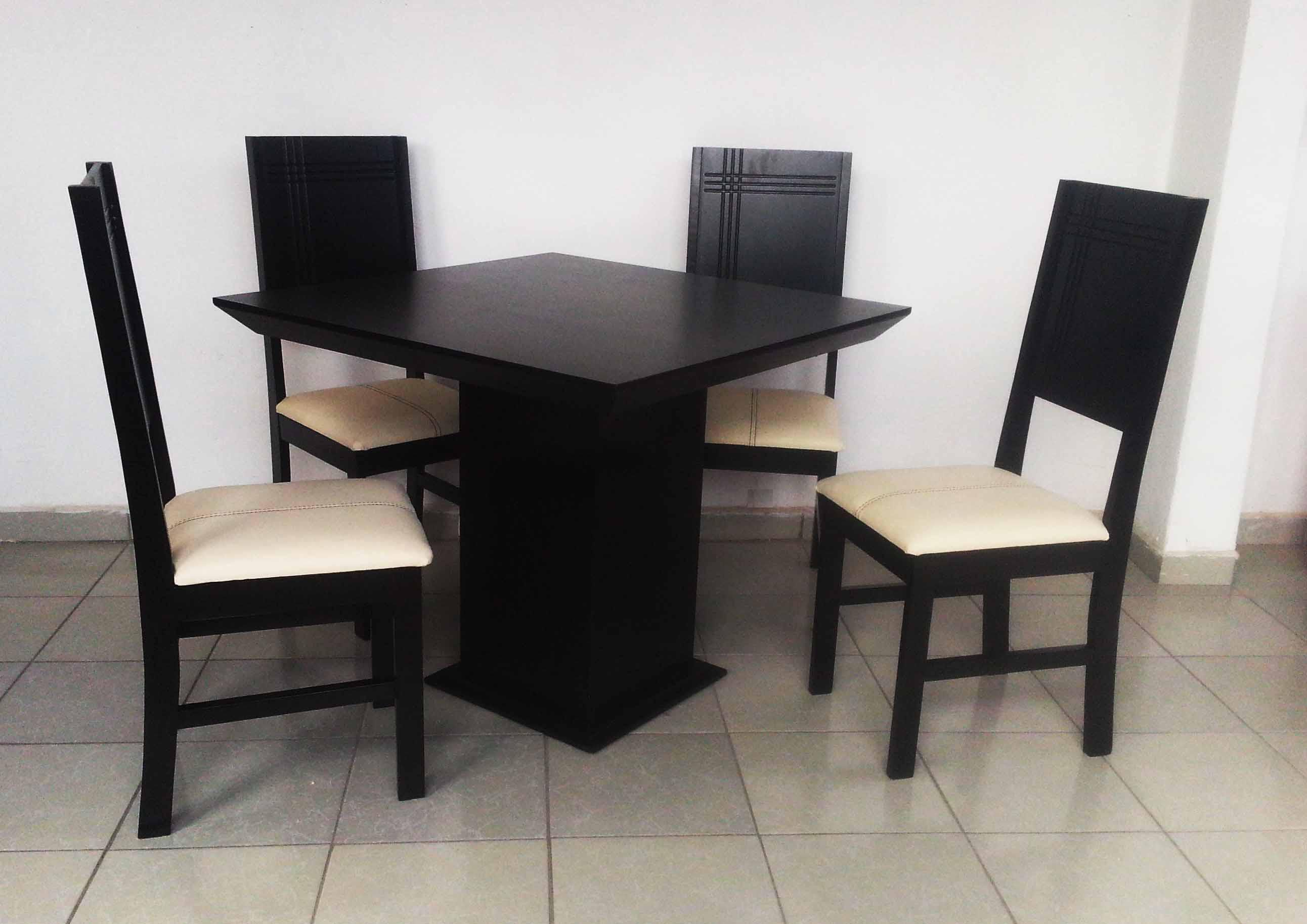 Comedor mesa y 4 sillas chocolate nuevo moderno madera for Comedor 4 sillas madera