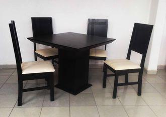 COMEDOR mesa y 4 sillas chocolate NUEVO moderno MADERA estufada antecomedor  para departamento o casa chica