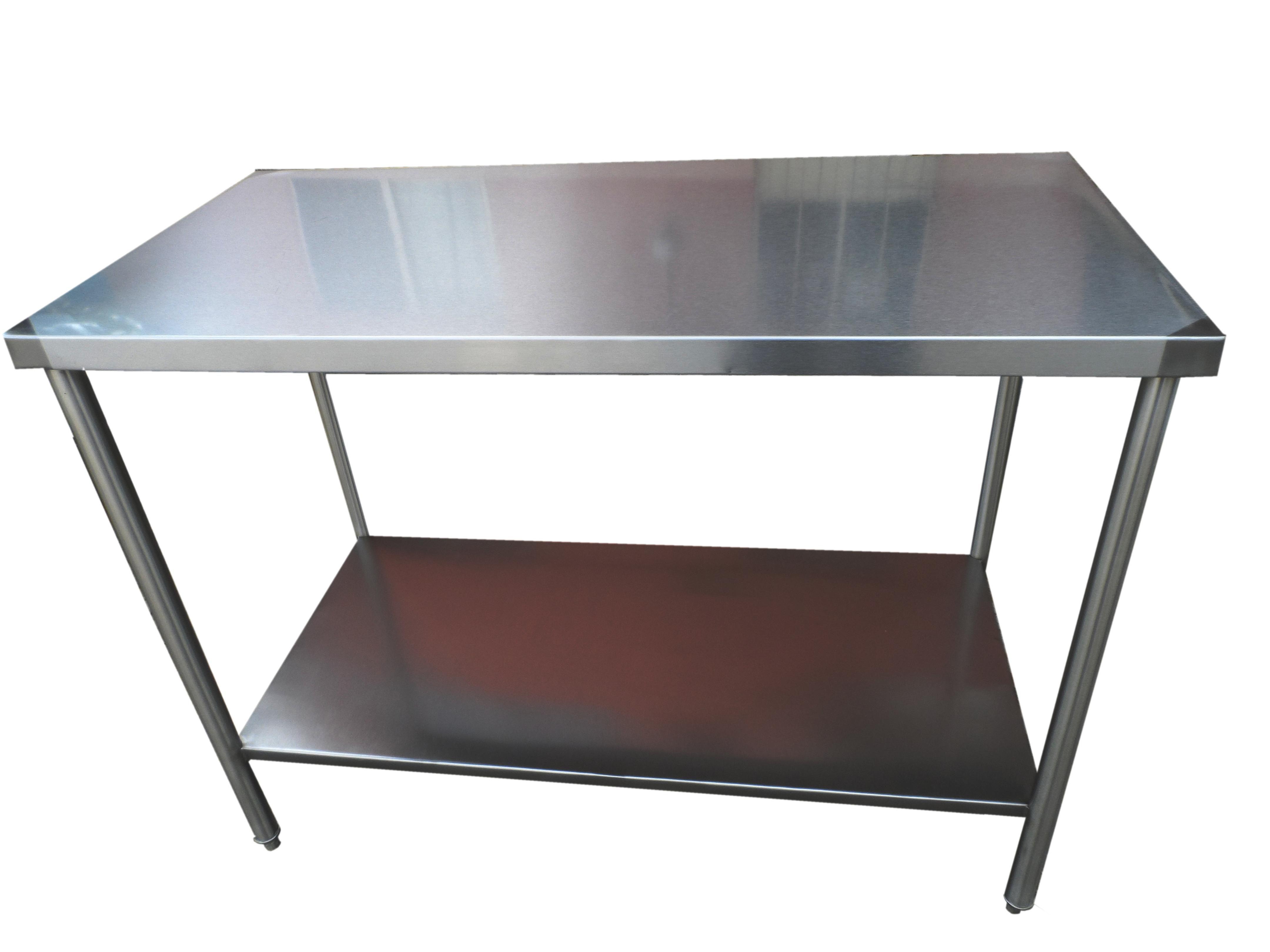 Mesas de trabajo tipo isla con entrepa o en acero - Precio acero inoxidable ...