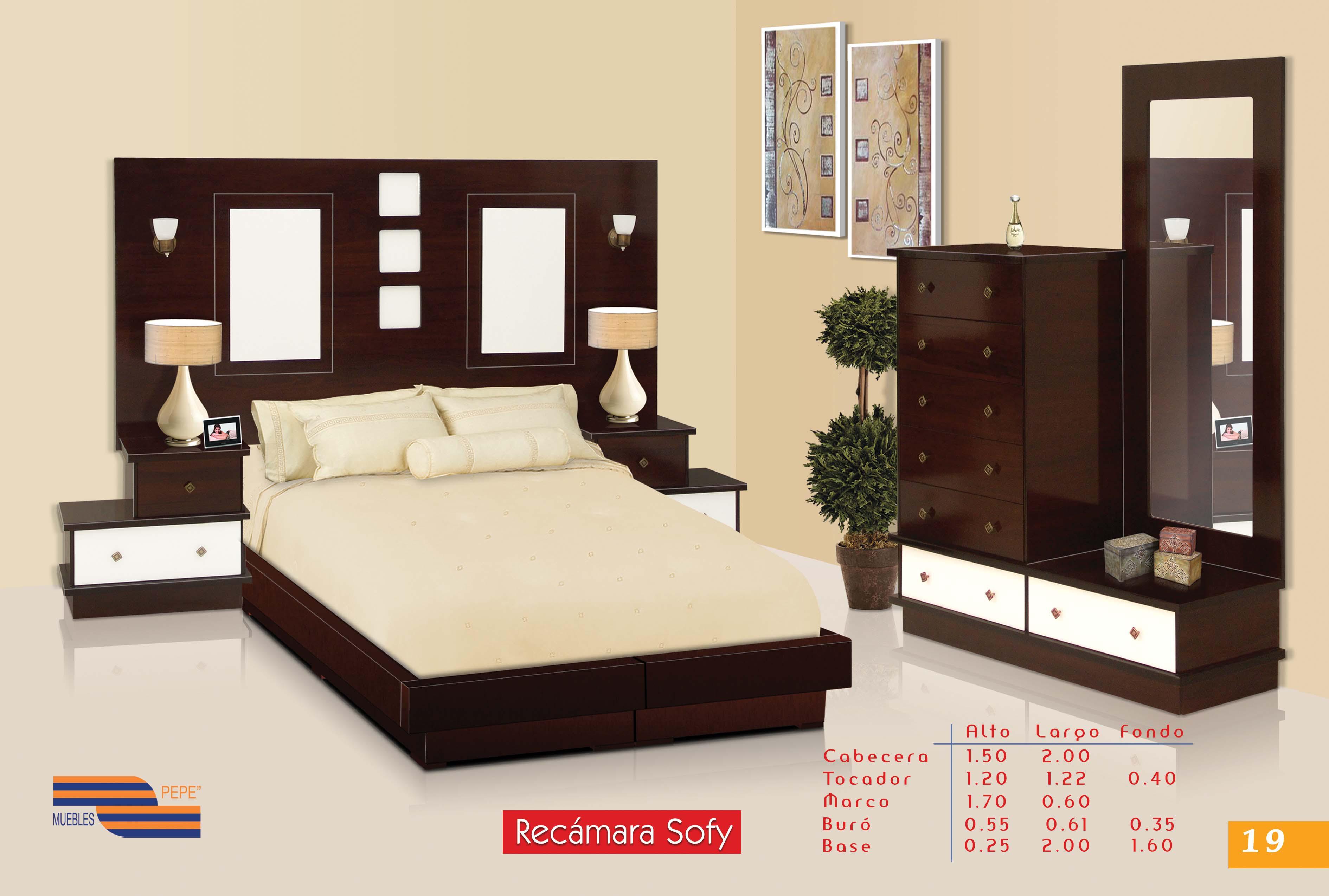 Recamara king size mod sofy jgo 5 pzas for Recamaras king size economicas