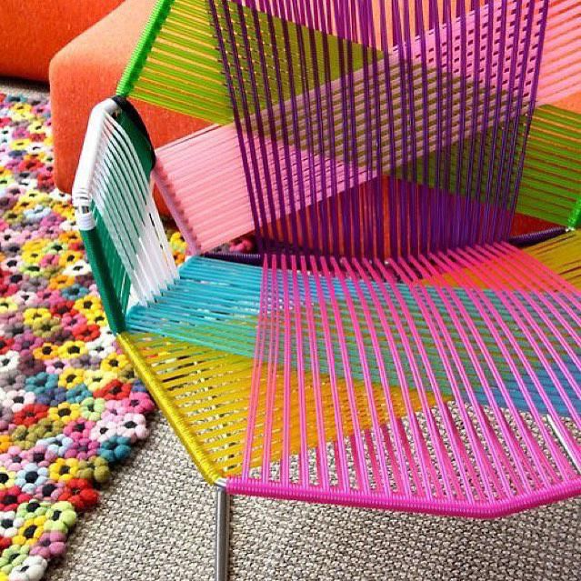 Sillas acapulco estilo retro tejidas mesas bancos - Mecedoras para jardin ...