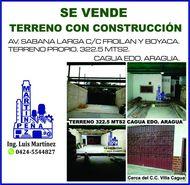 TERRENO CON CONSTRUCCIÓN CAGUA