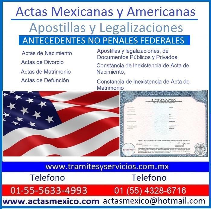 Apostillas Americanas y Merxicanas, Actas de Nacimiento | Mercado.mx