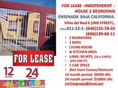for lease 2 beds house in Ensenada Baja low price located 2 km from costco store