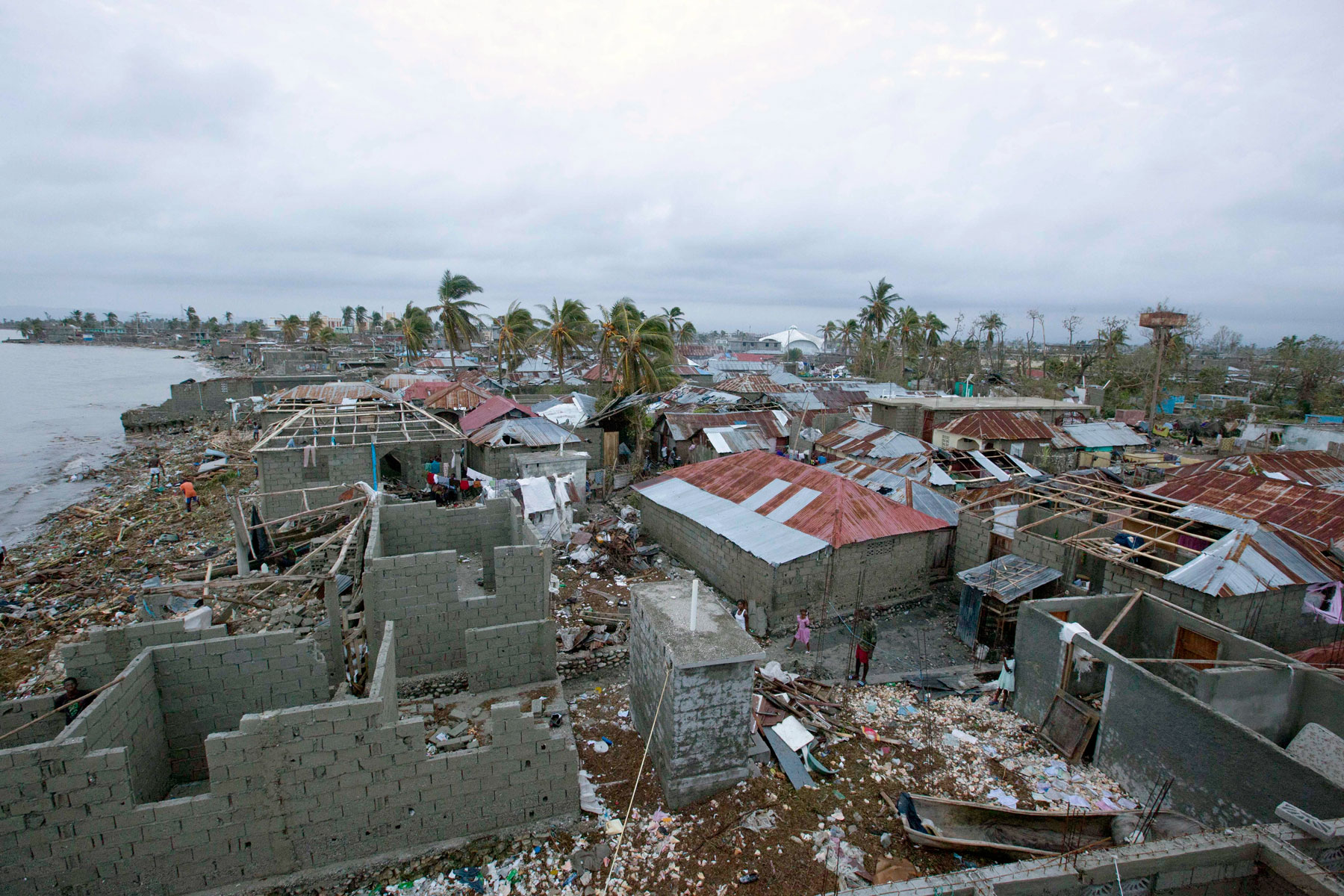 A view of some houses after the Hurricane Matthew, Les Cayes, Haiti.