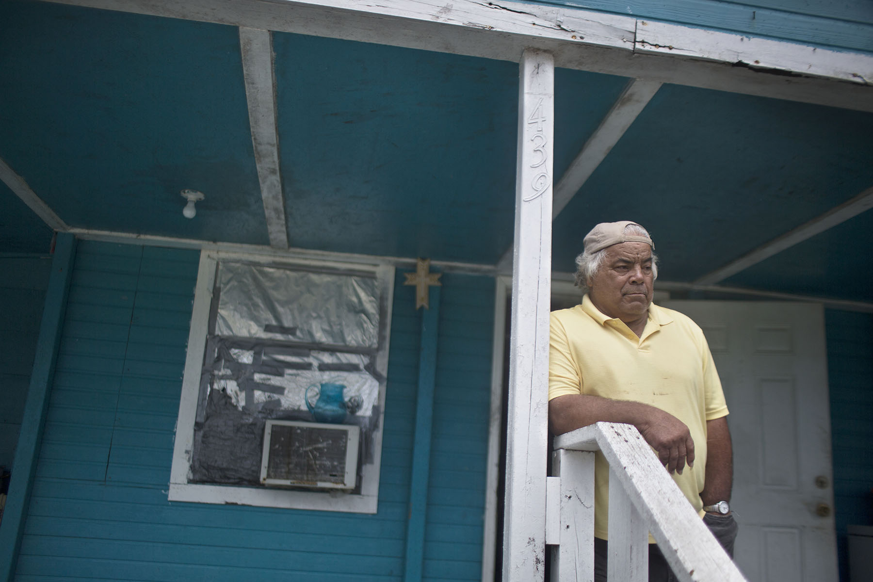 Hilton Chaisson, 68, an oyster fisherman and shrimper who lives in a low-lying house on the island.