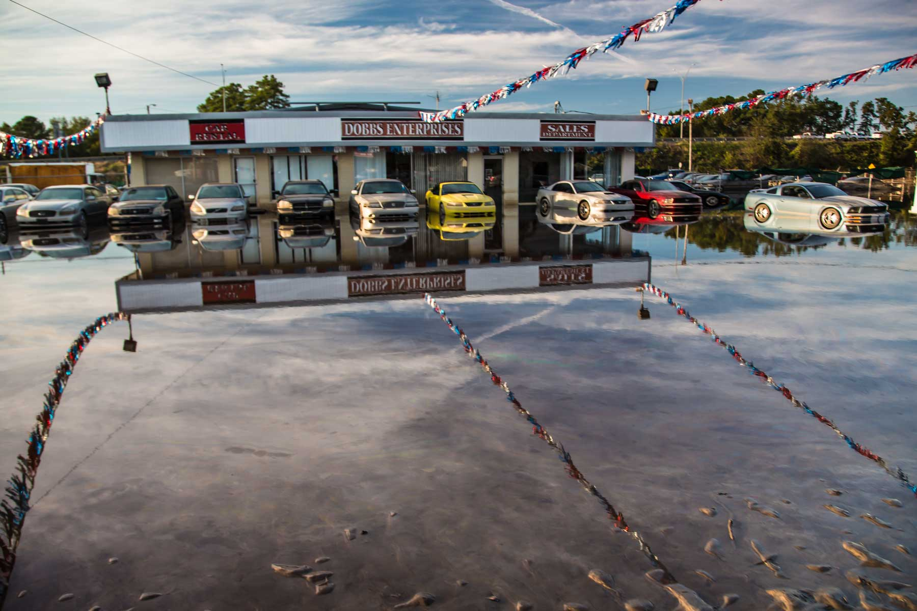 Water levels in a car dealership in Lumberton, N.C. begin to recede. (Julie Dermansky)