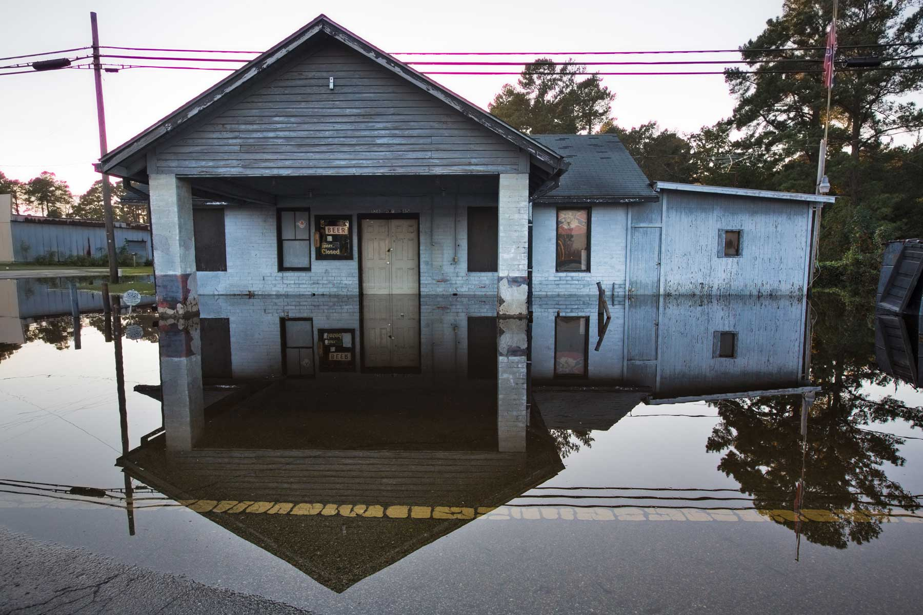 A flooded bar seen in Kinston, N.C. (Julie Dermansky)