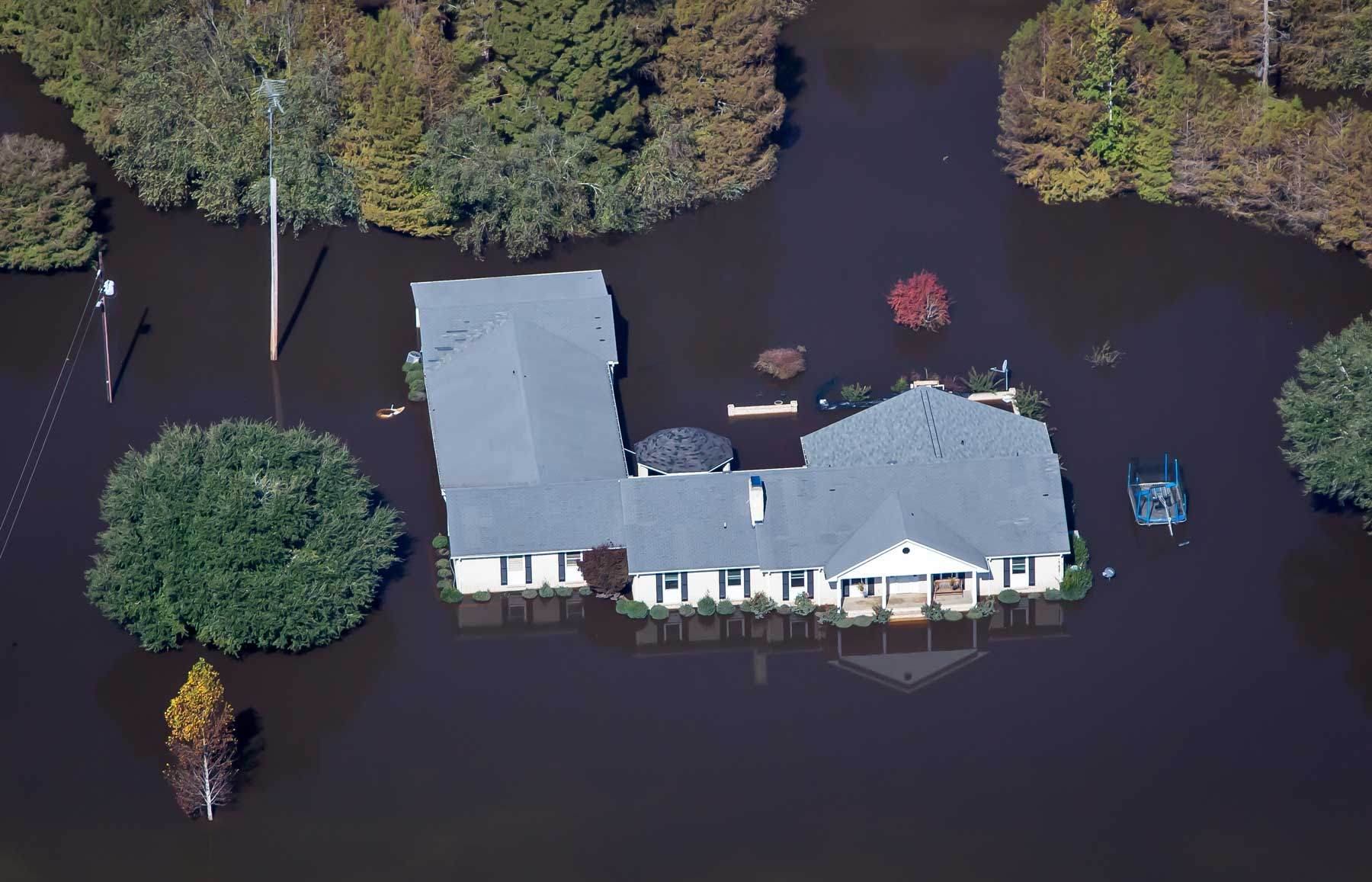 Aerial shots over Kinston, N.C. show high water covering much of the town. (Julie Dermansky)