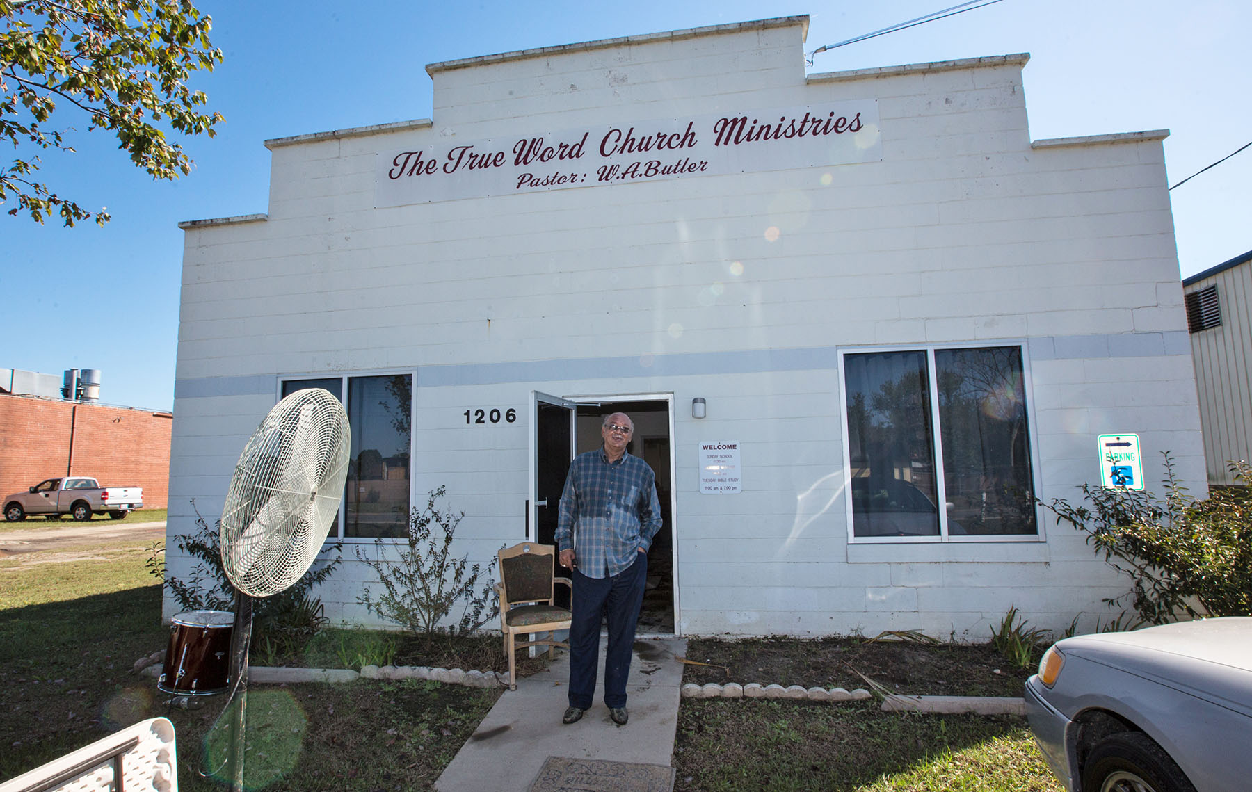 GOLDSBORO, NC-Rev. W.A. Butler, in The True Word Church Ministries after the flood waters from Matthew went down.