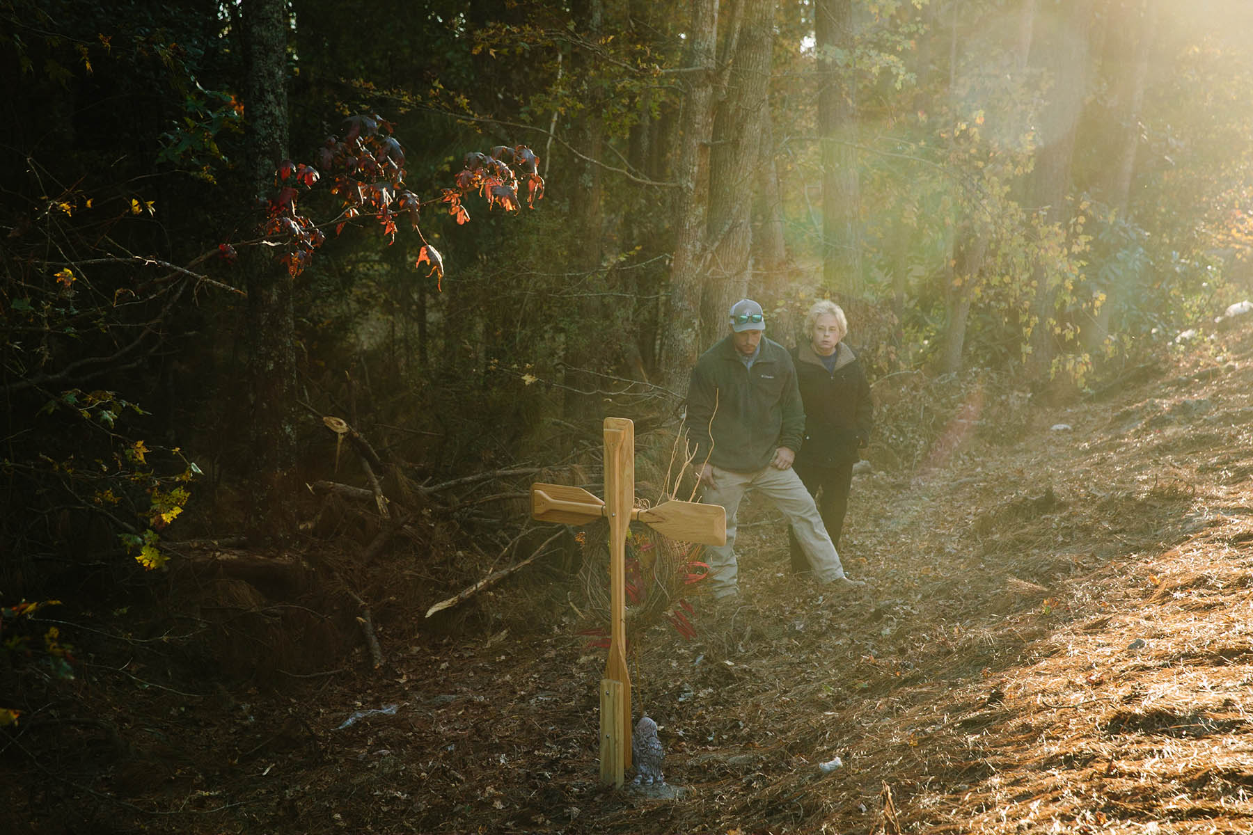 Josh and Linda Ward at the site of Matthew's accident (Edmund D. Fountain)