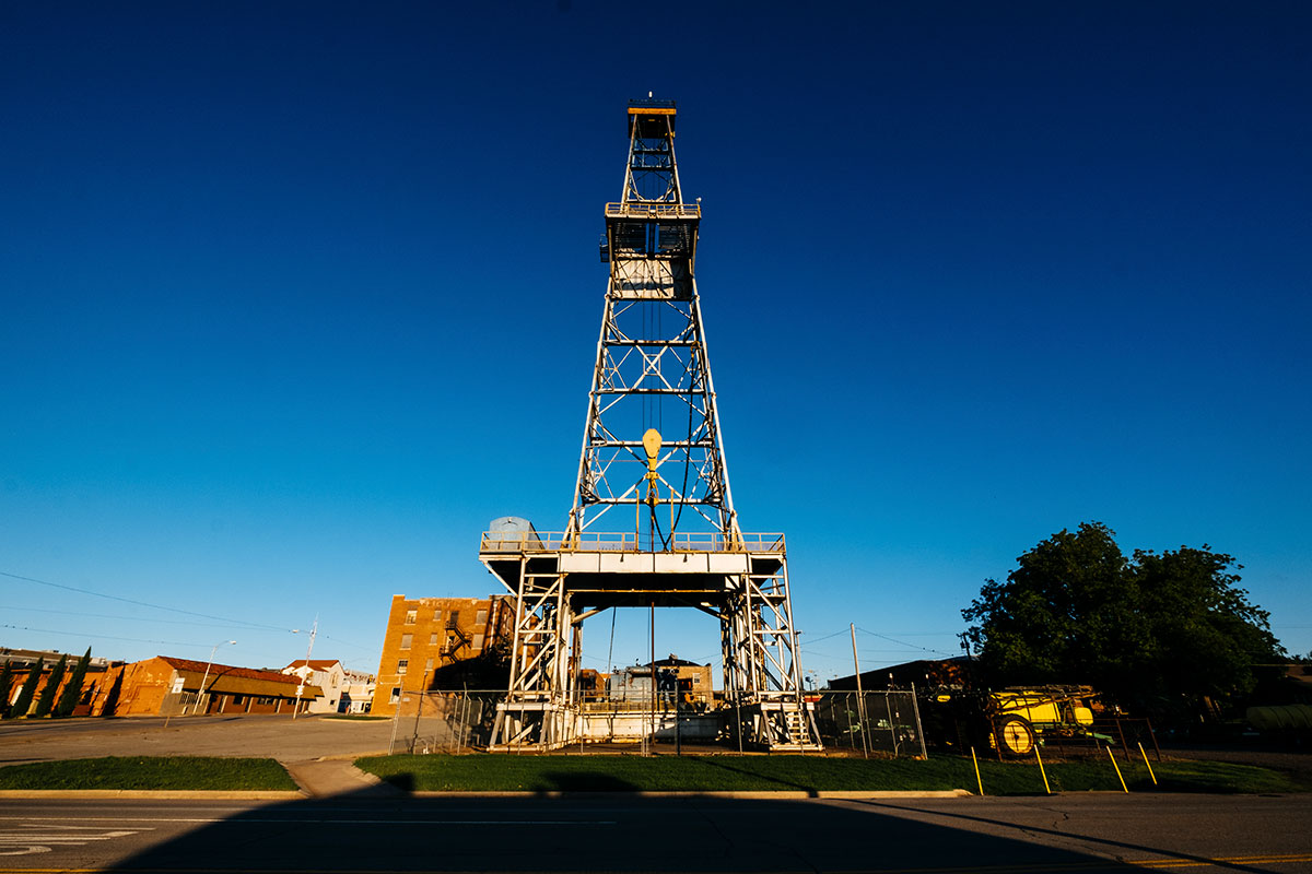 A drilling rig sits downtown on Saturday, May 20, 2017 in Elk City, Oklahoma.