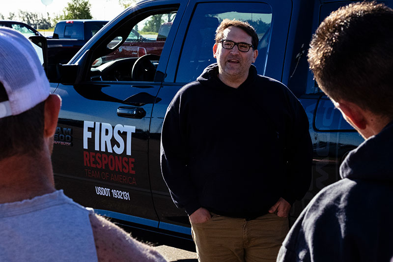 Tad Agoglia, the founder of the First Response Team of America speaks with volunteers on Saturday, May 20, 2017 in Elk City, Oklahoma. On Tuesday, May 16 an EF-2 tornado destroyed more than 100 homes and business in the city of 12,600.