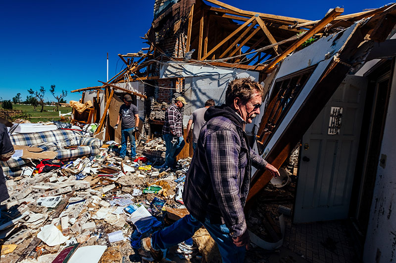 Gary Paxson inside his destroyed home on Saturday, May 20, 2017 in Elk City, Oklahoma.