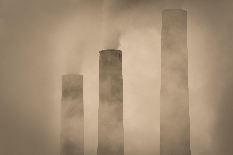Industrial chimneys at Navajo Generating Station in the Arizona.