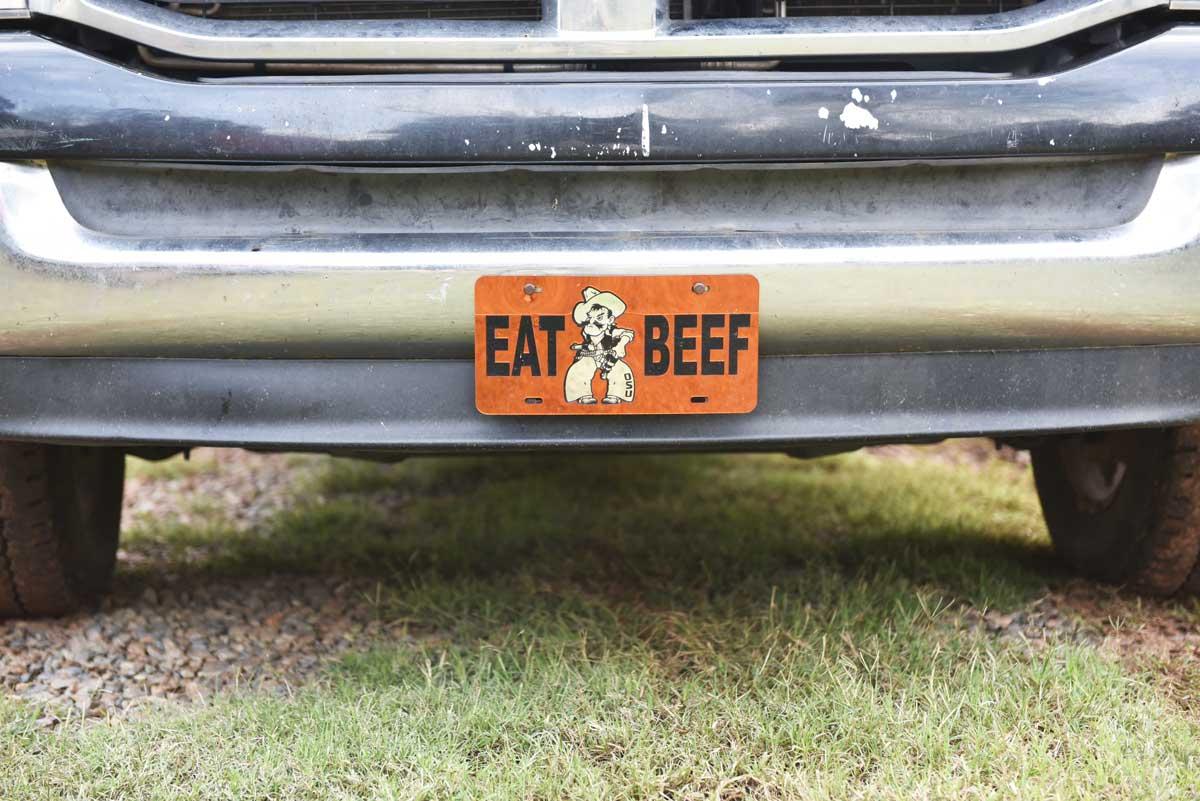 A vanity plate on John Boyer's truck.