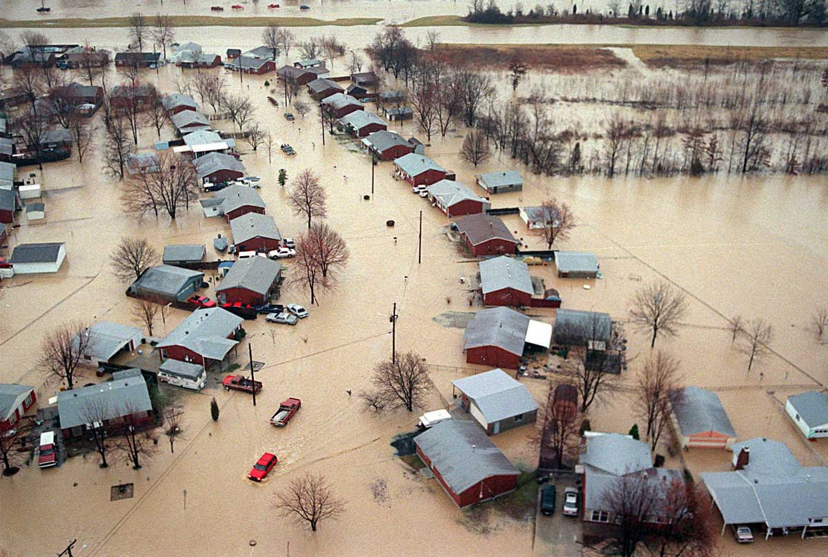 On March 1, 1997, almost 8 inches of rain fell in Louisville by mid-afternoon, flooding southern Jefferson County roads and subdivisions. (AP Photo)