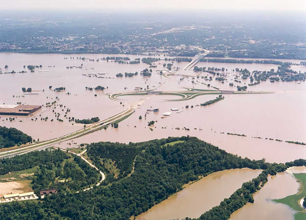 The legalization of riverboat gambling happened just as the Great Flood of 1993 put 30,000 square miles of land under water and caused $15 billion in damages. (NOAA)