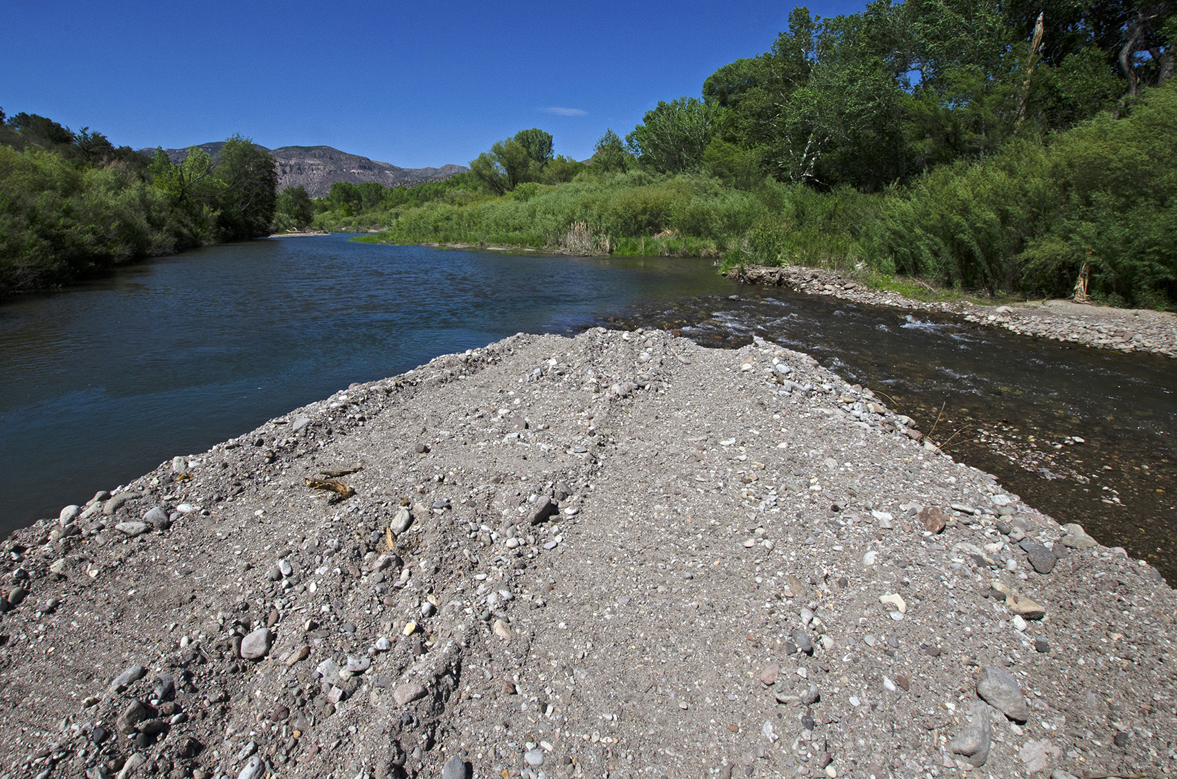 Farmers in the Cliff-Gila Valley redirect river water via simple berms, including this one near the site where the New Mexico Central Arizona Project Entity proposes to build a permanent diversion.