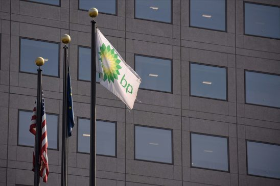 A view of a BP flag outside the BP Exploration Alaska headquarters on Aug. 27, 2019, in Anchorage, Alaska. (Lance King/Getty Images)