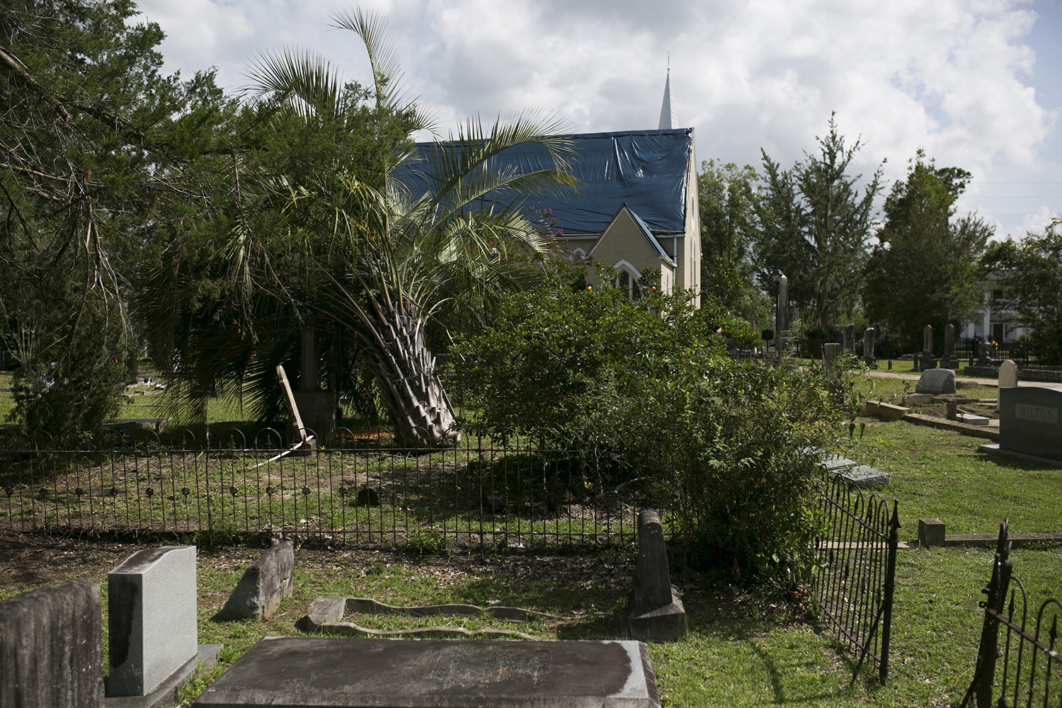 St. Luke's Episcopal Church in Marianna, Fla., on July 17, 2019. The main chapel of St. Luke's was damaged during Hurricane Michael in October 2018 and was still unusable nine months later. (Clarissa Sosin)
