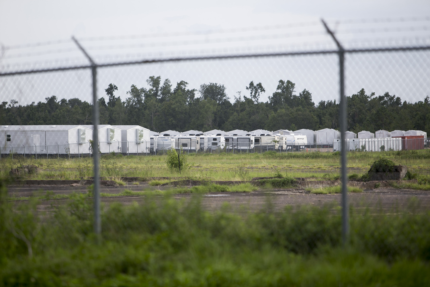 Unused FEMA trailers sitting near the Marianna Municipal Airport in the panhandle of Florida on July 17, 2019, nine months after Hurricane Michael. As of the end of September, the trailers were still sitting dormant. (Clarissa Sosin)