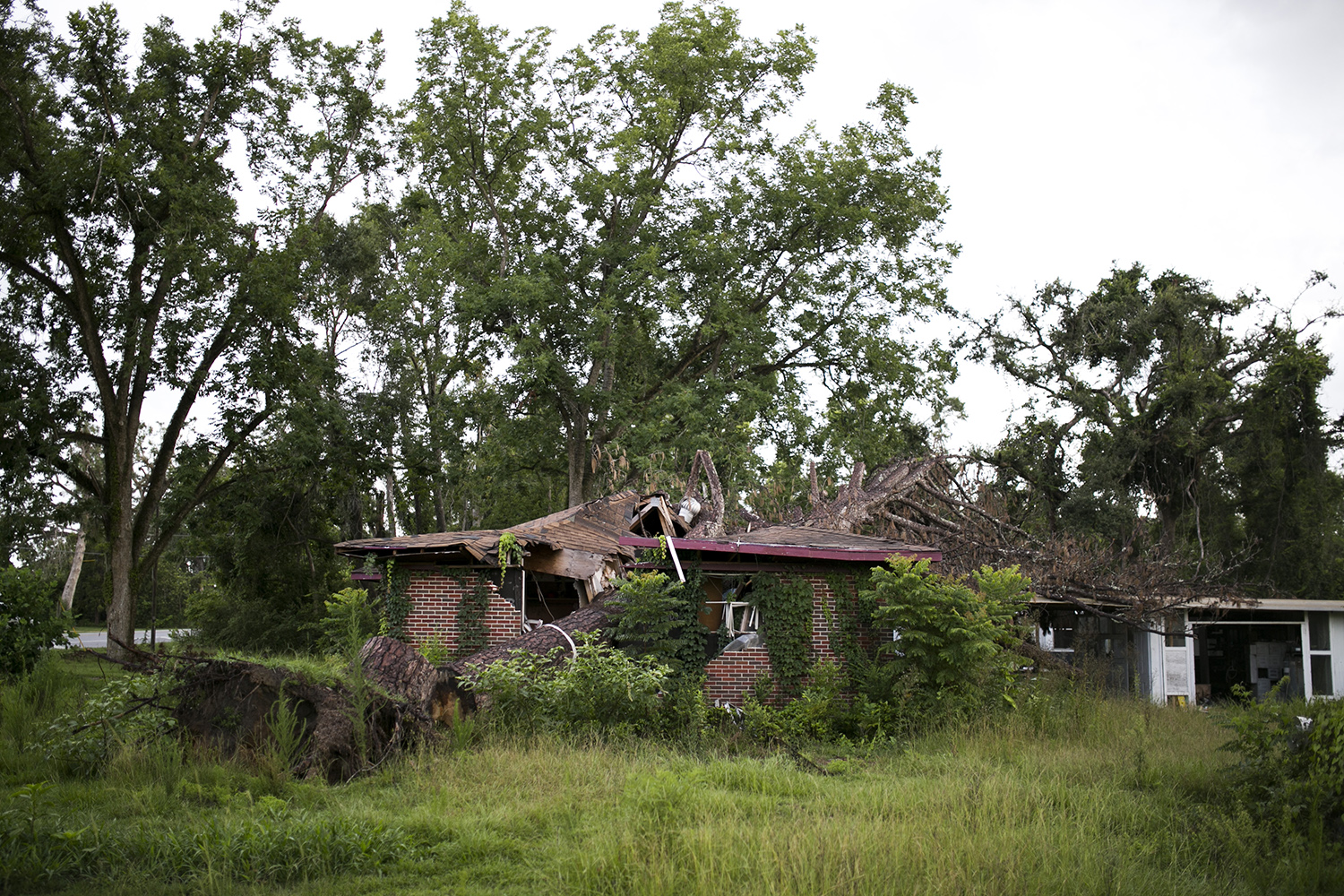 A home sits abandoned in Greenwood, Fla., one of many abandoned homes in the region after the destruction of Hurricane Michael.