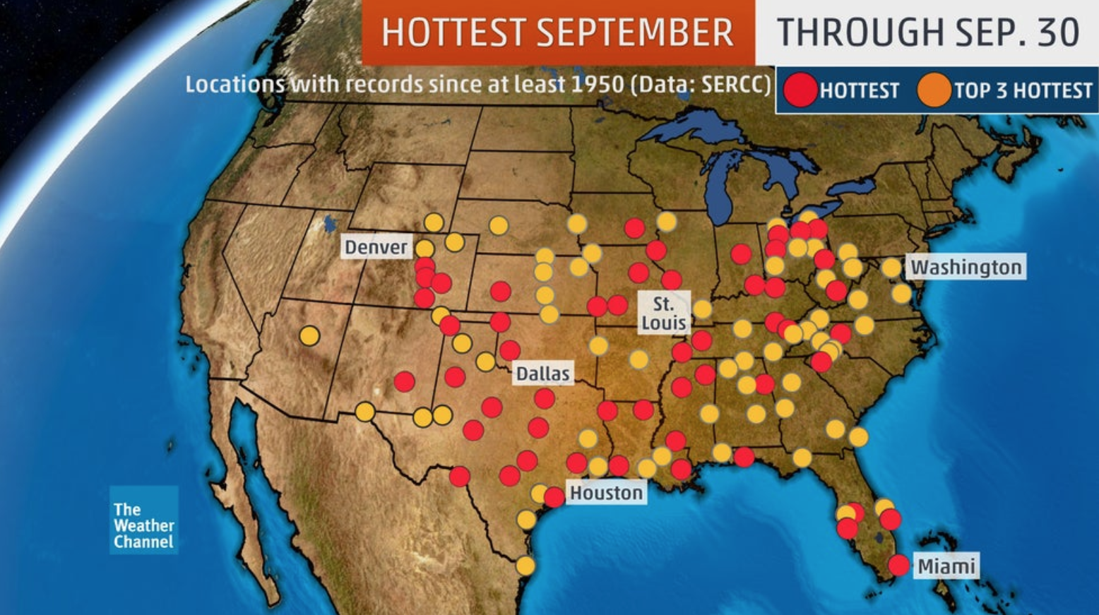 Red dots show locations that had their warmest September on record this year. Orange dots are locations where September 2019 ranked as second- or third-warmest on record. (Data: NOAA/SERCC)