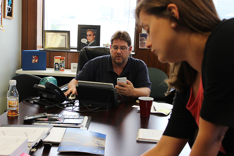 Kerwin Olson and Jennifer Washburn at CAC office.
