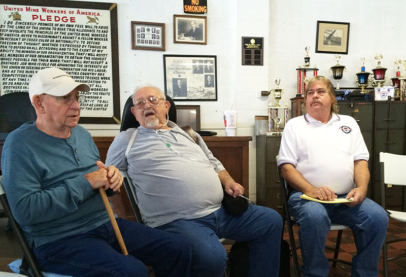 UMWA – Marvin Bruner speaks as Wilber (Bud) Groeninger and Bil Musgrave listen.