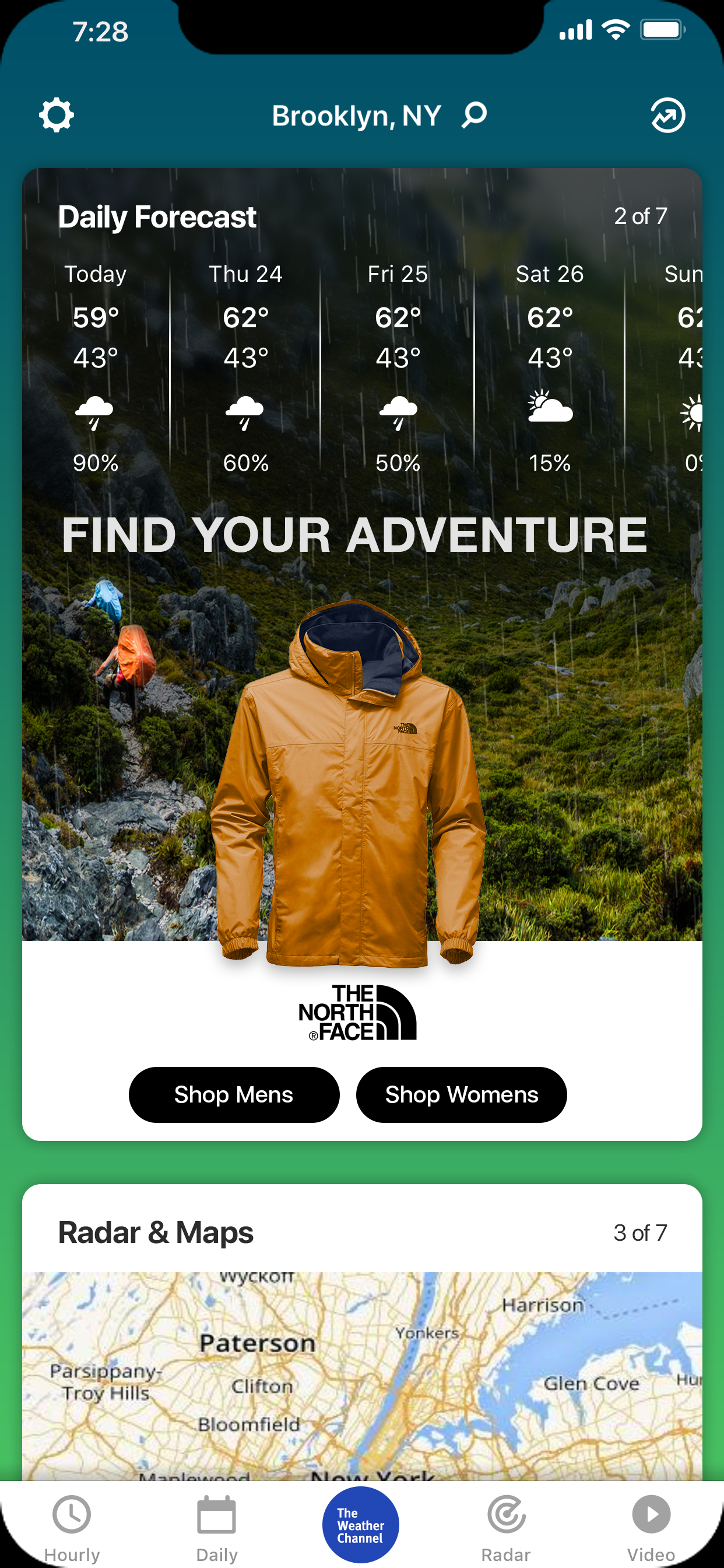 The North Face Mobile App IF Mock