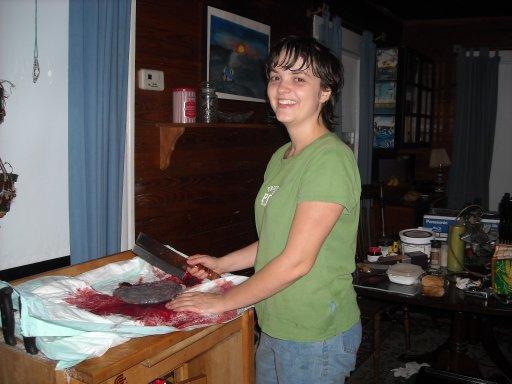 Rachel prepares the placenta