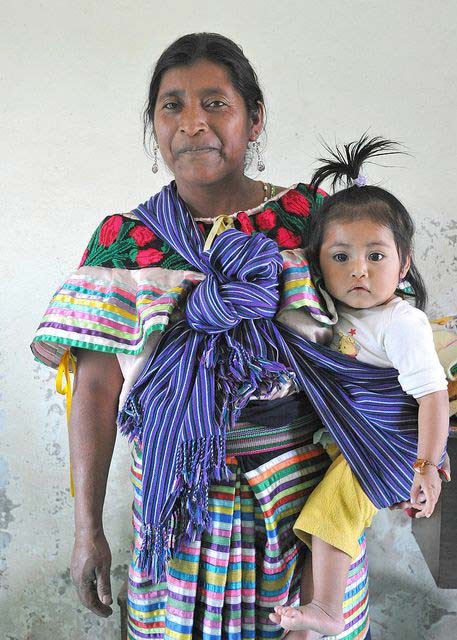 Maya Mother using Mexican Rebozo Carry