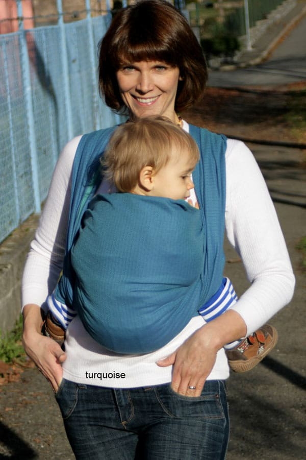 Leo Turquoise Storchenwiege Wraparound Baby Carrier - Wrap Your Baby 0f3d6ac0f94