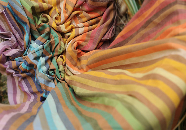 Beautiful earthy rainbow striped wrap