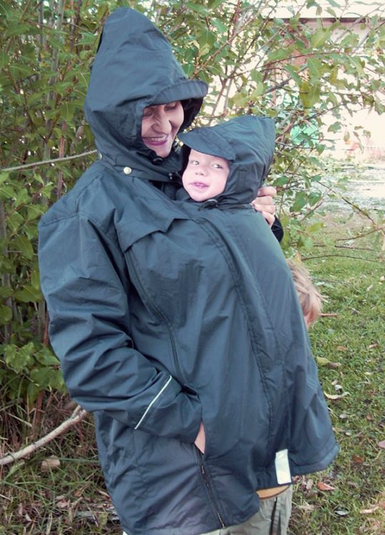 Front Carry in a KinderCoat with Hoods
