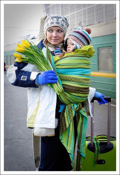 Zara Tri Green Ellevill Wraparound Baby Carrier - Wrap ...
