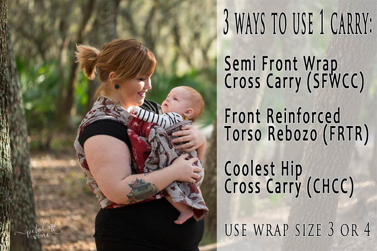 Semi Front Wrap Cross Carry, Front Reinforced Torso Rebozo, and Coolest Hip Cross Carry all tie the same way.
